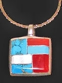 Square Mosaic Inlaid Stone Pendant with Chain #P2-018