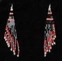 Cascade red seed bead earrings