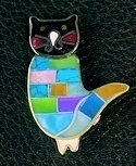 Cat stone inlay Brooch/pin #001