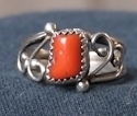 Navajo Sterling Silver Coral Ring