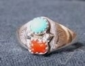 Navajo Sterling Silver Turquoise and Coral Ring
