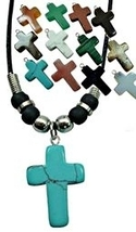 Dozen Assorted Stone Cross Necklaces