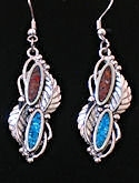 Turquoise and Coral Dangle Southwestern Earrings