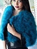 Teal Marabou Jacket with Pleather Trim