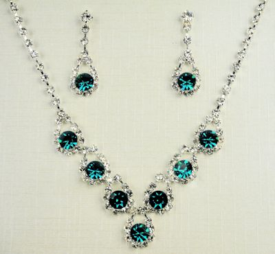 Green CZ necklace and earring set.
