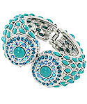 Turquoise and AQUAMARINE Hinged Bracelet