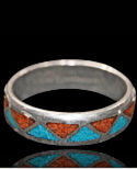 Turquoise & Coral Chip Inlay Wedding Band