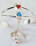 Hearts & Roses Turquoise & Coral Slave Bracelet
