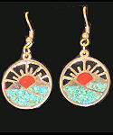 Turquoise & Coral New Mexico Sunset Earrings