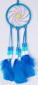 "Beaded Turquoise 3"" Spiral Dream Catcher Mirror Ornament"