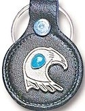 Turquoise Eagle Head Leather Keychain
