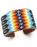 Turquoise Fire Feather Wide Beaded Cuff Bracelet