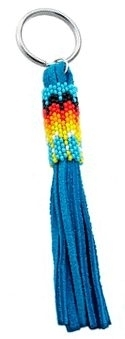 Tanurquoise Fire Pattern peyote stitch beaded keychain