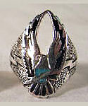 Turquoise Flying Eagle Silver BIKER RING