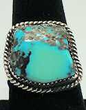 Turquoise Free Form Sterling Silver Ring #140