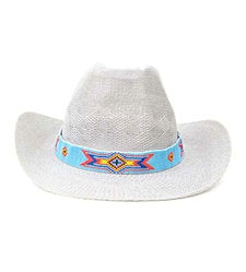 Native American Inspired Geometric  Hand Beaded Hat Band or Belt