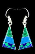 Turquoise & Malachite Azurite Inlaid Stone Triangle Earrings