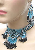 Turquoise Geometric Handcrafted Beaded Choker & Earrings Set