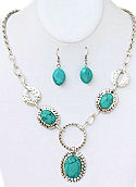 3 Stone Turquoise Necklace & Earrings Set
