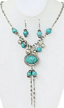 7 Stone Turquoise Necklace & Earrings Set