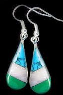 Inlaid Turquoise, Mother of Pearl & Malachite Teardrop Earrings