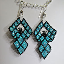 Beaded Thunderbird seed bead earrings