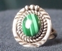 Sterling Silver Malachite Ladies Ring