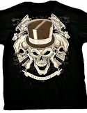 Voodoo Magic Tophat Skull with Bats Tshirt