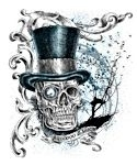 Voodoo Magic Skull Wearing Top Hat White Tshirt