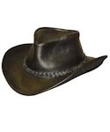 Black Walker Raging Bull Leather Hat with Braided Hatband