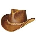 Brown Walker Raging Bull Leather Hat with Braided Hatband