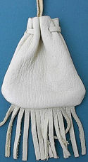"3""x3.75"" Medium Fringed White Buckskin Medicine Bag with Neck String"