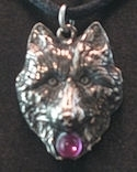 Wolf head with colored crystal