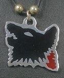 Wolf head enameled pewter PENDANT