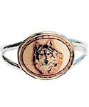 Oval Wolf Head Wire Cuff Bracelet