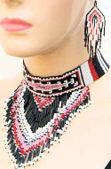 Pink & Black Yei Beaded Choker Necklace & Earrings Set