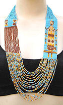 Brown and Turquoise Yei Dancer Beaded Long Necklace