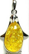 Yellow Amber Penguin Pendant
