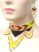 Yellow Fire Seeing Eye Beaded Choker Necklace & Earrings Set