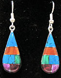 Multicolored Inlaid Semi-Precious Stones Teardrop Earrings