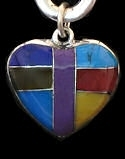 Zuni Inspired Inlaid Heart Pendant