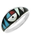 Zuni Inspired Sun Face Inlaid Sterling Silver Ring
